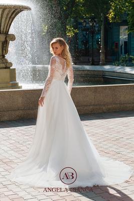 Brautkleid mit langen Ärmel aus Spitze und Softtüll hinten
