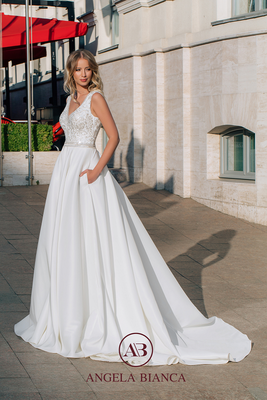Brautkleid A-Linie aus Satin mit Glitzer und Taschen vorne