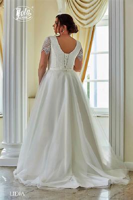 Brautkleid große Größen mit Arm aus Chiffon und Spitze hinten