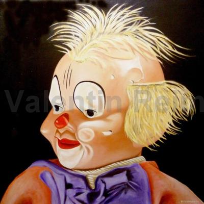 Clown 100x100cm Öl auf Leinwand