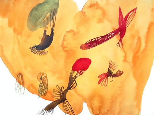 Flew, 30 x 40 cm, Aquarellfarbe auf Papier, Susanne Renner, 2017
