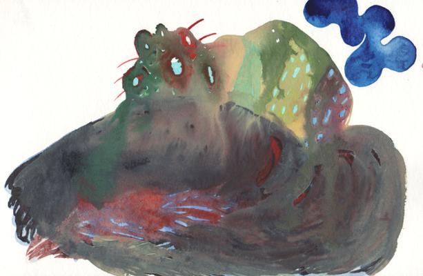Monster II, 15 x 25 cm, Aquarellfarbe auf Papier, Susanne Renner, 2016