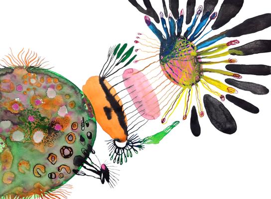 Ozon, 40 x 50 cm, Aquarellfarbe auf Papier, Susanne Renner, 2018