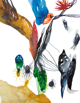 Insight, 30 x 40 cm, Aquarellfarbe auf Papier, Susanne Renner, 2018