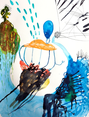 Drones, 30 x 40 cm, Aquarellfarbe auf Papier, Susanne Renner, 2017