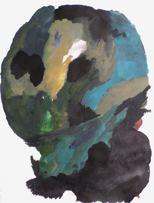 Head landscape I, 30 x 40 cm, Mixed Media auf Papier, Susanne Renner, 2015