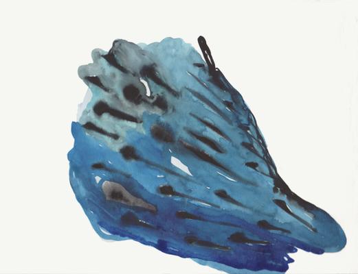 Blue skin II, 18x 24 cm, Aquarellfarbe auf Papier, Susanne Renner, 2016