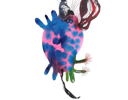 Preperation, 30 x 40 cm, Aquarellfarbe auf Papier, Susanne Renner, 2017