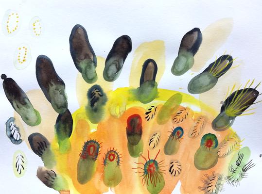 8Invaders, 40 x 50 cm, Aquarellfarbe auf Papier, Susanne Renner, 2018