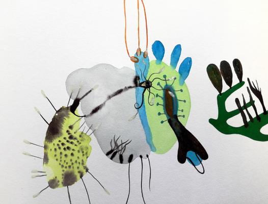 Mikroben, 30 x 40 cm, Aquarellfarbe auf Papier, Susanne Renner, 2017
