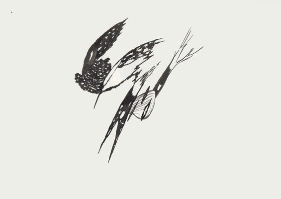 Herbstgezwitscher, 15 x 20 cm, Tusche auf Papier, Susanne Renner, 2015 (Verkauft)