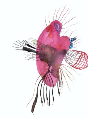 Dread, 30 x 40 cm, Aquarellfarbe auf Papier, Susanne Renner, 2018