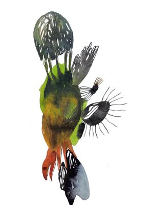 Landed, 30 x 40 cm, Aquarellfarbe auf Papier, Susanne Renner, 2017