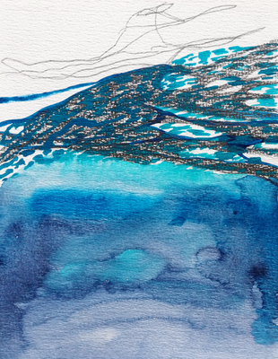 Ohne Titel, 15 x 20 cm, Aquarellfarbe auf Papier, Susanne Renner, 2017