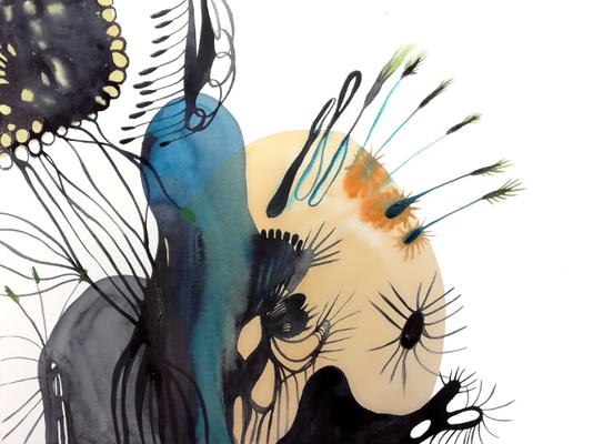 Landschaft, 30 x 40 cm, Aquarellfarbe auf Papier, Susanne Renner, 2017