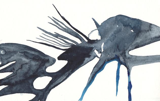 Spur, 15 x 25 cm, Aquarellfarbe auf Papier, Susanne Renner, 2016