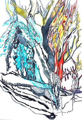Ohne Titel, 20 x 30 cm, Aquarellfarbe auf Papier, Susanne Renner, 2017