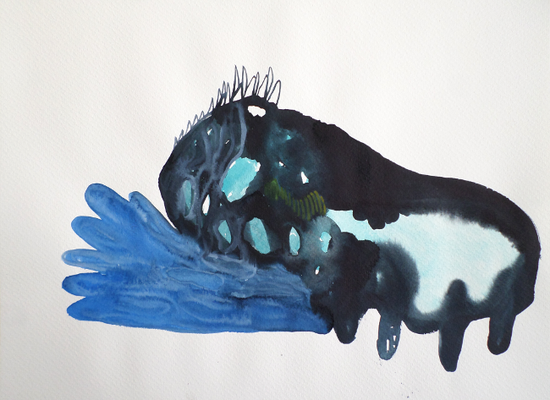 Tank, 20 x 30 cm, Aquarellfarbe auf Papier, Susanne Renner, 2017