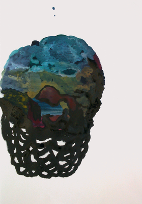 Head landscape III, 50 x 35 cm, MIxed Media, Susanne Renner, 2015