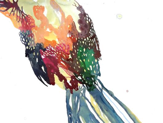 Blossom, 40 x 50 cm, Aquarellfarbe auf Papier, Susanne Renner, 2017
