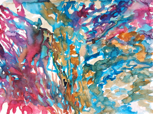 Ohne Titel, 36 x 48 cm, Aquarellfarbe auf Papier, Susanne Renner, 2017