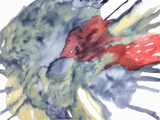 In touch, 36 x 48 cm, Aquarellfarbe auf Papier, Susanne Renner, 2017