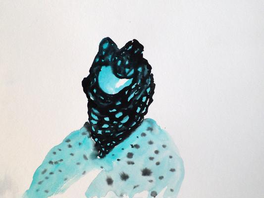 Head Think, 40 x 30 cm, Aquarellfarbe auf Papier, Susanne Renner, 2017