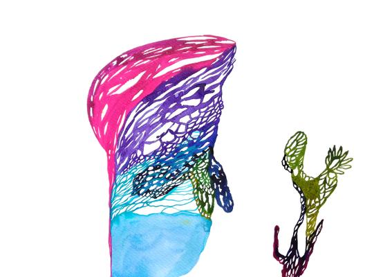 Seamonster, 30 x 40 cm, Aquarellfarbe auf Papier, Susanne Renner, 2017