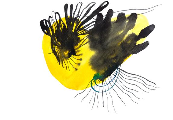 Form 2, 30 x 40 cm, Aquarellfarbe auf Papier, Susanne Renner, 2017