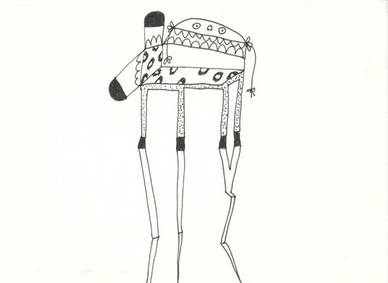Dreibeiner, 13 x 17,5 cm, Tuschestift auf Papier, Susanne Renner-Schulz