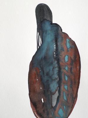 Vulnurable, 24 x 32 cm, Aquarellfarbe auf Papier, Susanne Renner, 2017
