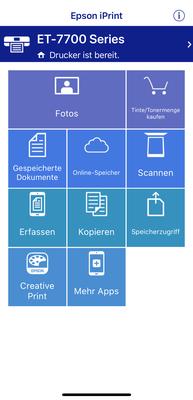Epson iPrint App Menü