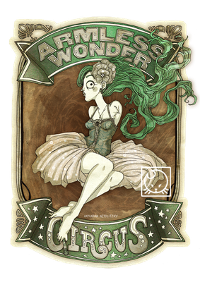 """Armless Wonder"" - Illustration for my webcomic project http://circus-pulex-irritans.blogspot.de/"