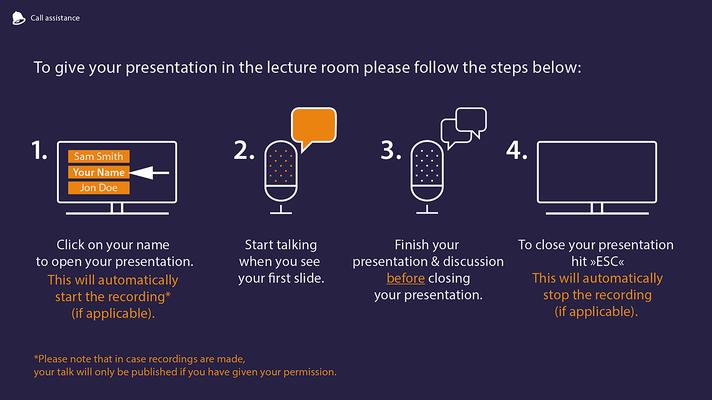 Infografik für m-events in den Hausfarben des Unternehmens; zum self-check-in des Vortragenden.