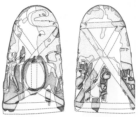 Messergriff aus Elfenbein. Prädynastische Zeit, aus Abydos, Mittelägypten. Aufnahme und Rekonstruktion in Bleistift, Umzeichnung in Tusche für die Publikation.