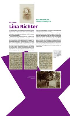 """Ausstellung """"Kampf um Heut und Morgen"""": Tafel über Lina Richter, 1,2 m x 2 m."""