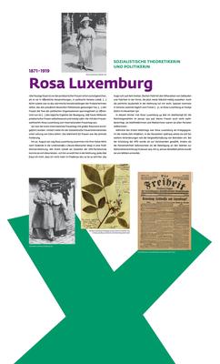 """Ausstellung """"Kampf um Heut und Morgen"""": Tafel über Rosa Luxemburg, 1,2 m x 2 m. Der Digitaldruck wurde doppelseitig (innen große Fotos) auf Aludibond kaschiert."""