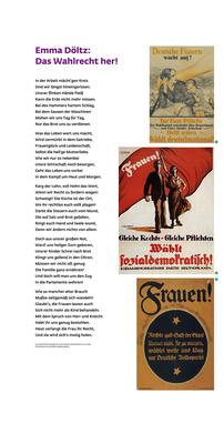 """Ausstellung """"Kampf um Heut und Morgen"""": linke Tafel mit Gedicht und einem Teil der Wahlplakate von 1908, 1 m x 2 m."""