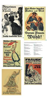 """Ausstellung """"Kampf um Heut und Morgen"""": rechte Tafel mit Wahlplakaten von 1908, 1 m x 2 m."""
