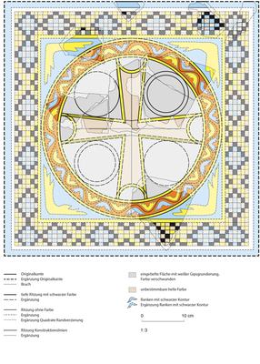 Rekonstruktion einer frühchristlichen Wandmalerei in einem Kloster in Syrien, (Dr. Eva Strommenger). Gezeichnet mit Illustrator.