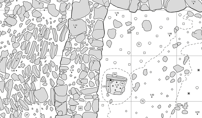 Detail des Aufnahmeplans mit Piktogrammen für die unterschiedlichen Materialien. Gezeichnet mit Illustrator.