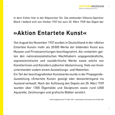 Drei von bisher fünf Gedenktafeln für eine Reihe des Verein Aktives Museum in Berlin; 50 x 50 cm, Mattierte Folie von hinten auf Acrylglas kaschiert.