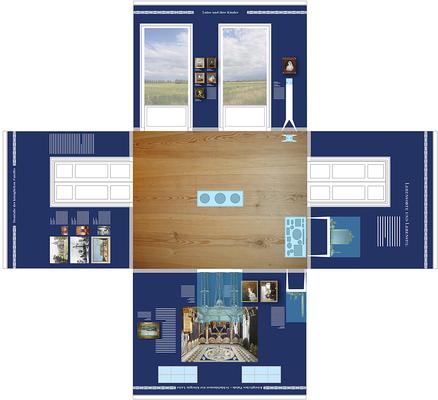 Entwurf Raum Königin Luise. Visuelle Grundidee sind die mit Texten und Bildern digital bedruckten Tapeten in Kombination mit Originalobjekten.