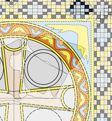 Detail, die dunklen Farben kennzeichnen erhaltene Farbspuren, die hellen sind Rekonstruktionen des Musters.