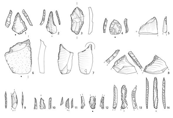 Aufnahme und Umzeichnung von Steinwerkzeugen (Bohrer) aus Brandenburg.
