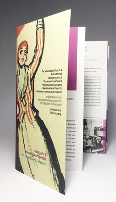 Zweiter Veranstaltungsflyer zum Begleitprogramm 100 Jahre Frauenwahlrecht in Steglitz-Zehlendorf.