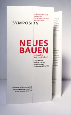 """Einladung und Programm zu einem Symposium mit dem Thema """"Neues Bauen in Steglitz Zehlendorf""""."""