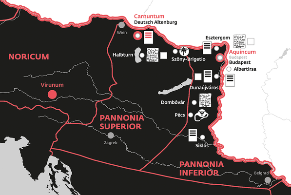 In der 3 m x 5 m großen Gesamtkarte des Römischen Reiches im 5. Jhdt. n. Chr.  sind alle Fundgruppen eingezeichnet. Mit der starken roten Linie ist der Verlauf des Limes, mit feineren Linien die Grenzen der römischen Provinzen markiert.