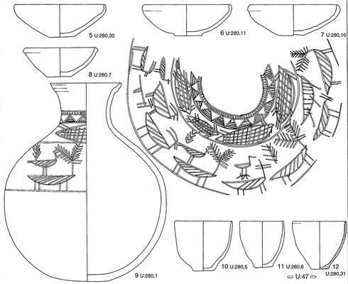 Keramik aus Tall Bia in Syrien. Umzeichnung in Tusche für die Publikation.