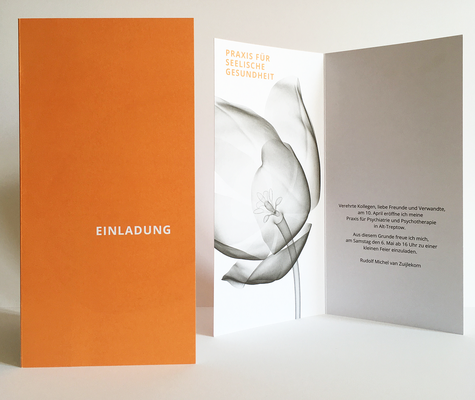 Einladungskarte zur Praxiseröffnung eines holländischen Psychiaters.